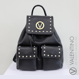 Leather Studded Logo Backpack