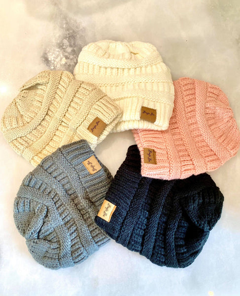 Criss Cross Knitted Ponytail Beanie