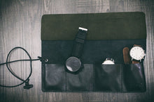 Black Leather/Dark Moss Watch Roll