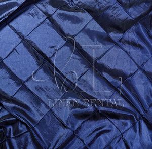"Navy 4"" Pintuck Taffeta Table Overlays"