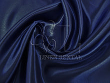 Navy Satin Table Overlays