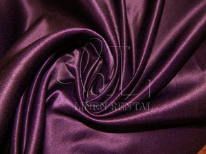 Plum Satin Table Overlays