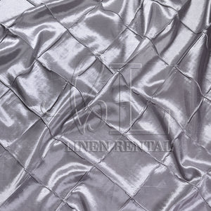 "Silver 4"" Pintuck Taffeta Table Overlays"
