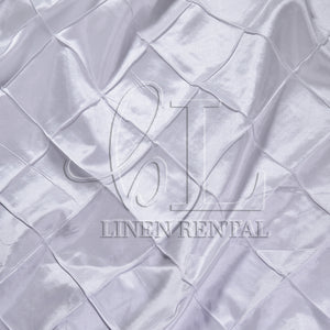 "White 4"" Pintuck Taffeta Table Overlays"