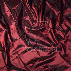 "Wine 4"" Pintuck Taffeta Table Overlays"
