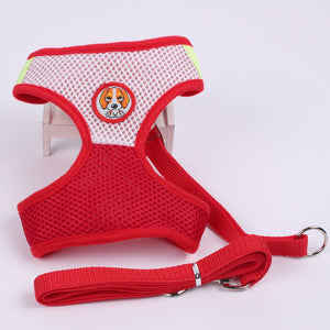 Puppy Emblem Mesh Harness with Matching Leash