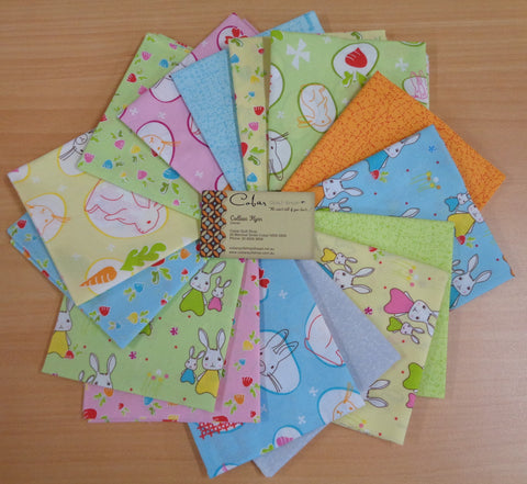 15 Fat Quarters from the 'Bunny Trail' collection from Jodie Carleton for Ella Blue.
