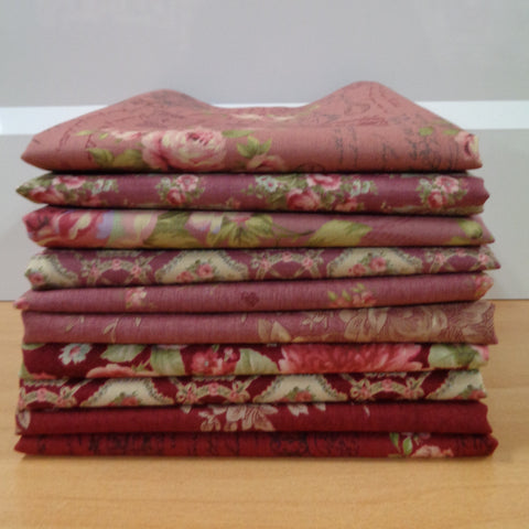10 Antique Rose Fat Quarters (pink)