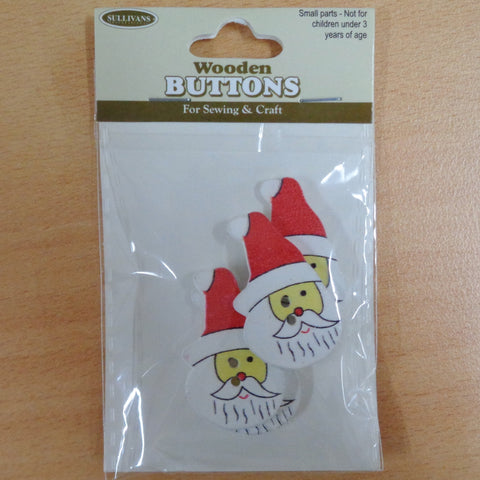 Christmas Buttons Santa Head 4pcs