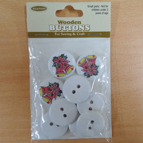 Christmas Buttons 2 Red bells 10pcs