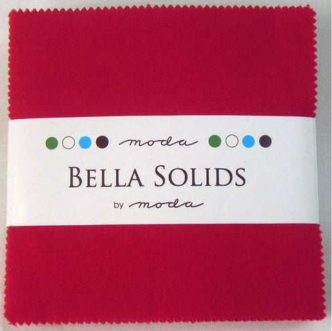 Moda Bella Solids Red Charm Squares