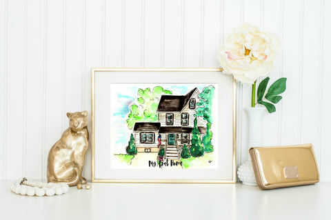 Custom Watercolor House Original Portrait-5x7