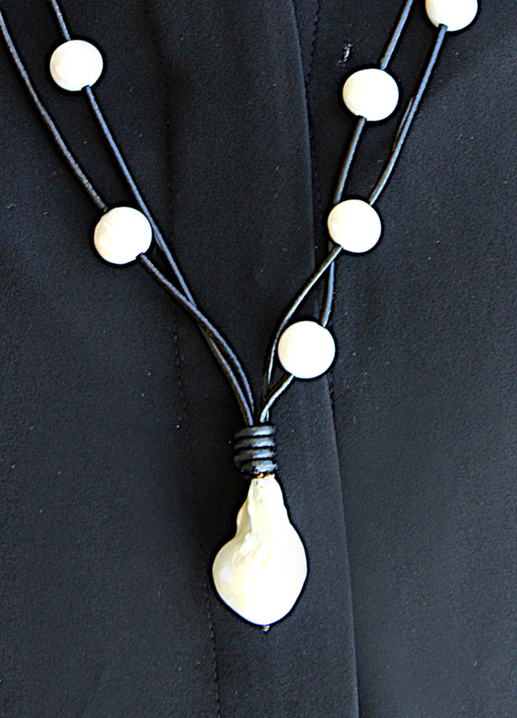 Leather Double-Strand Pearl Necklace
