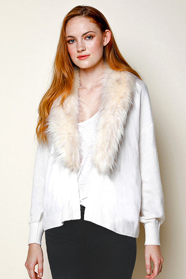 Open Cashmere Cardigan with Detachable Faux-Fur Collar