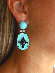 18K Turquoise Ionite and Diamond Earring