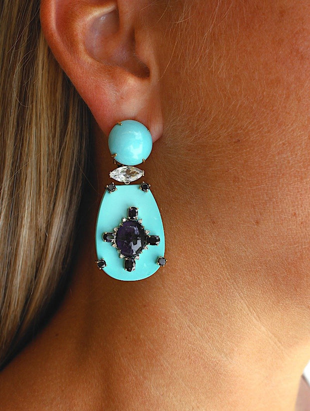 18K Turquoise Iolite and Diamond Earring