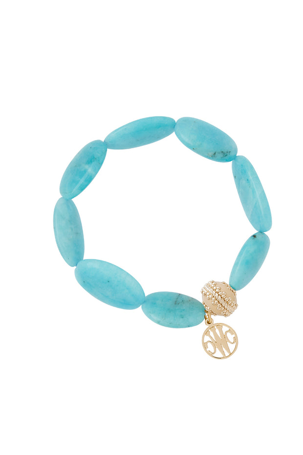 Bracelet - Tumbled Flat Oval Amazonite