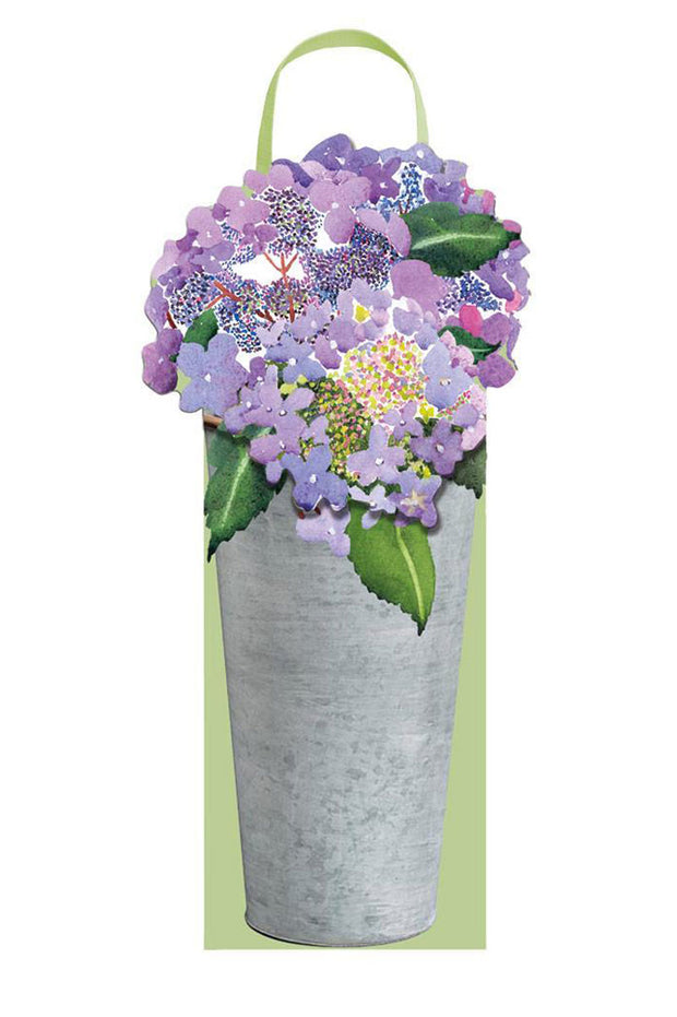 Caspari Hydrangeas in French Flower Bucket Wine & Bottle Gift Bag