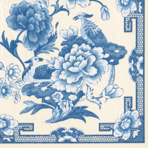 Caspari Blue & White Dinner Napkins