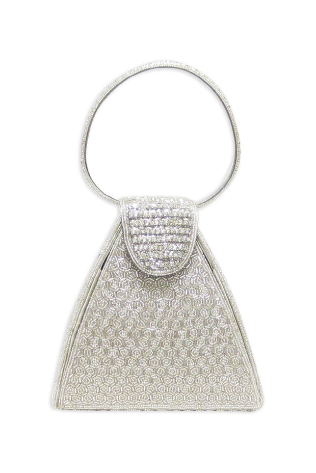 Silver and Clear Stones Evening Handbag