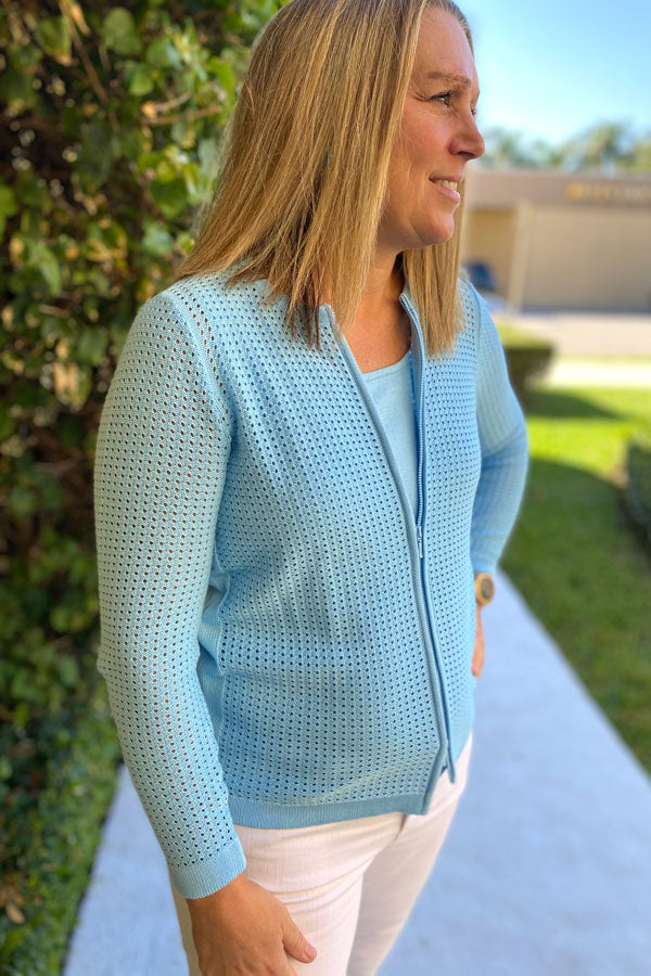 Edinburgh Knitwear Pointelle Zip Sweater Jacket & Matching Tank - available in multiple colors