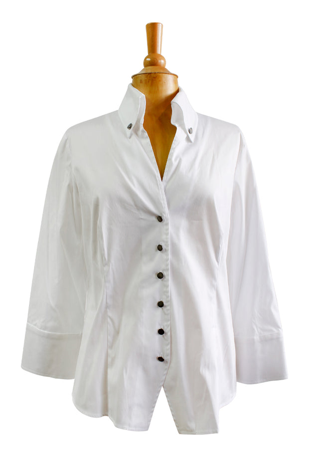 Finley Cadet Big Cuff White Blouse
