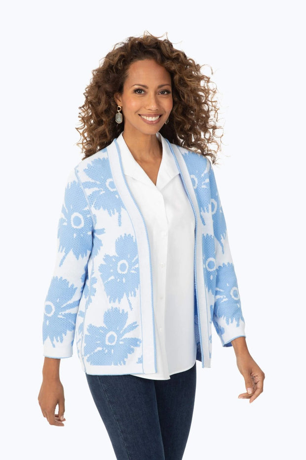 Foxcroft Reversible Cardigan Floral Sweater