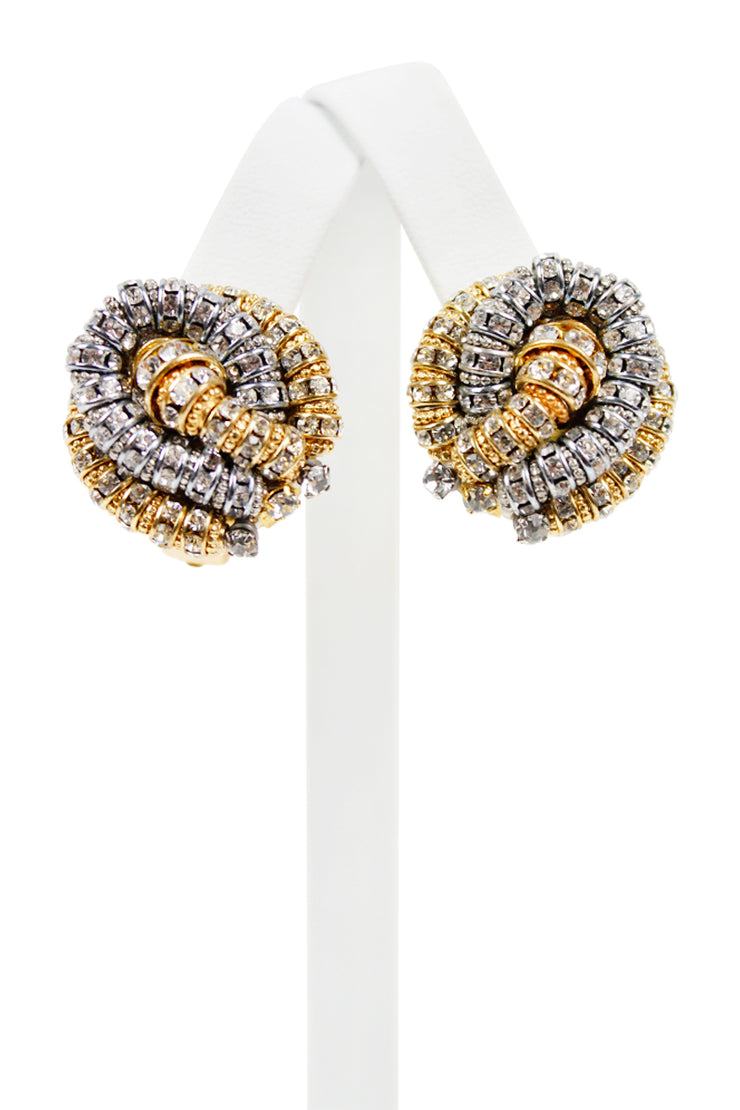French Gold & Silver Knot Clip Earring