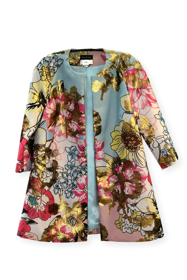Frascara Floral Multi Metallic Abstract Jacket