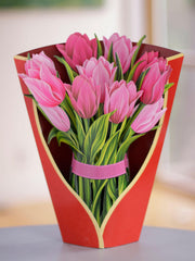 Pink Tulips Pop-up Flower Card