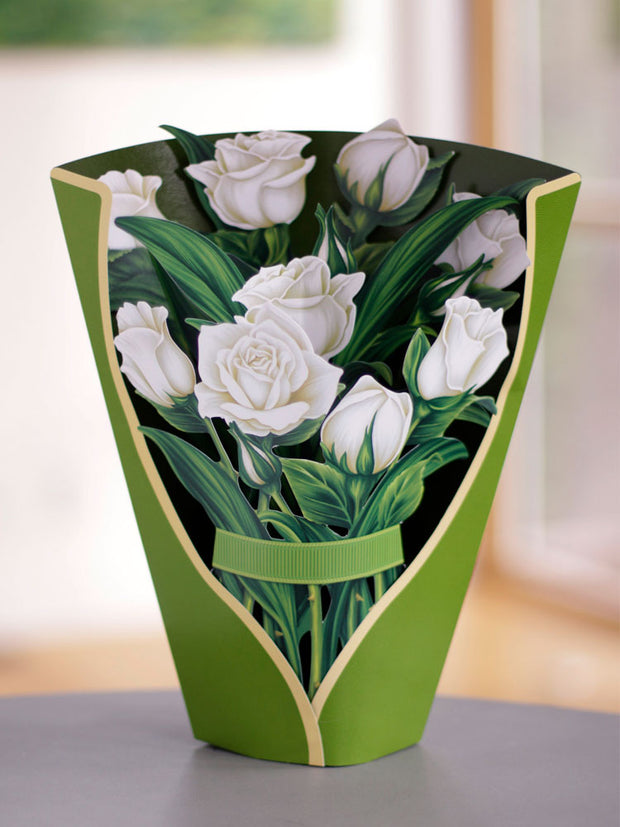White Roses Pop-up Flower Card