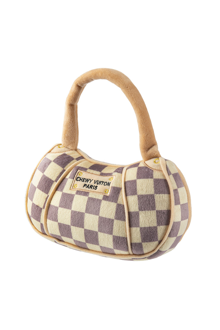 Checker Chewy Vuiton Purse Dog Toy - Large
