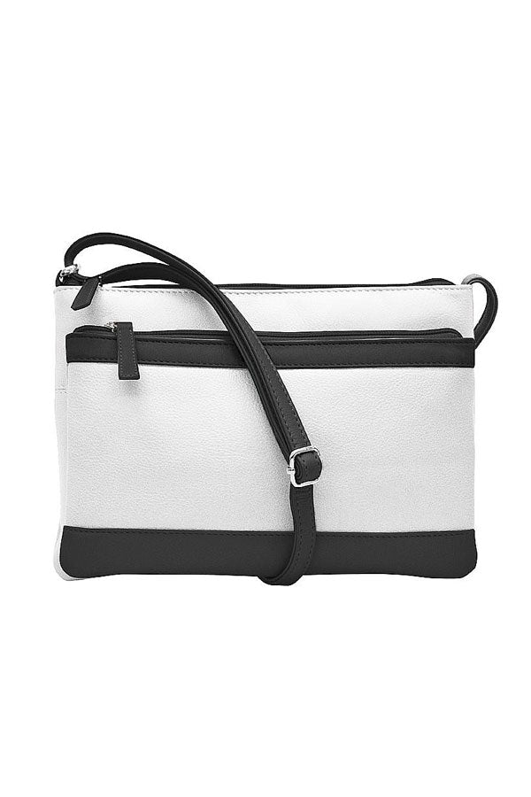 Black & White Double Zip Leather Color Block Crossbody