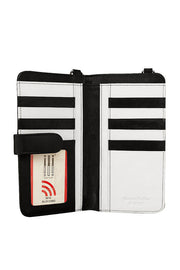 Black & White Leather Crossbody Phone Wallet