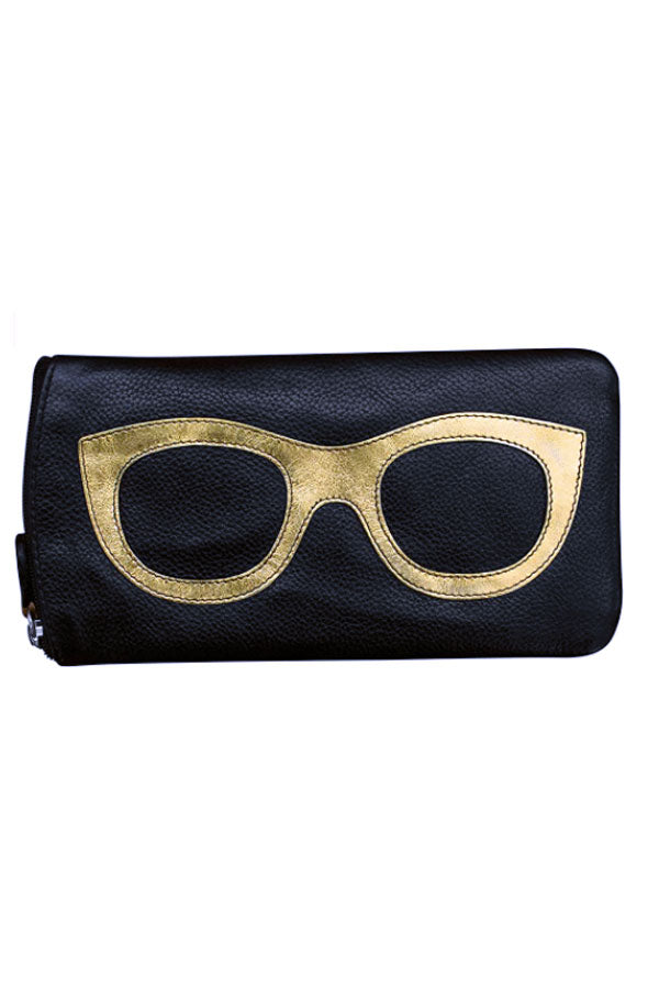Black & Gold Leather Eyeglass Holder