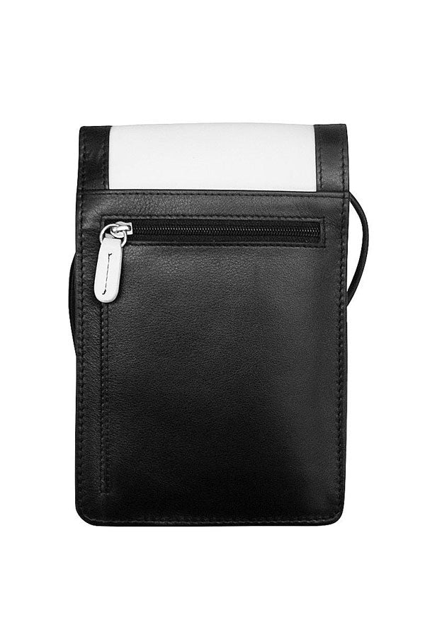 Black & White Small Leather Organizer Crossbody