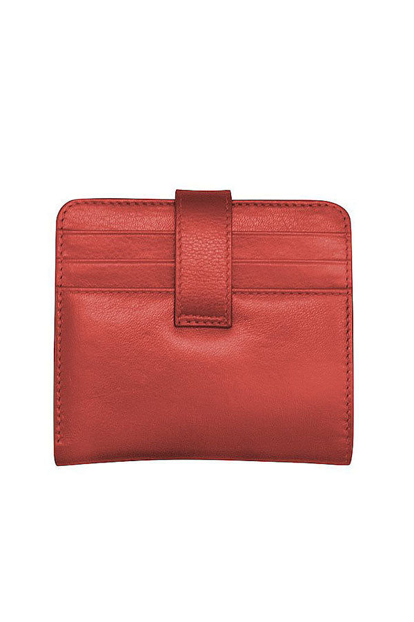 Red Leather Bifold Credit Card Wallet