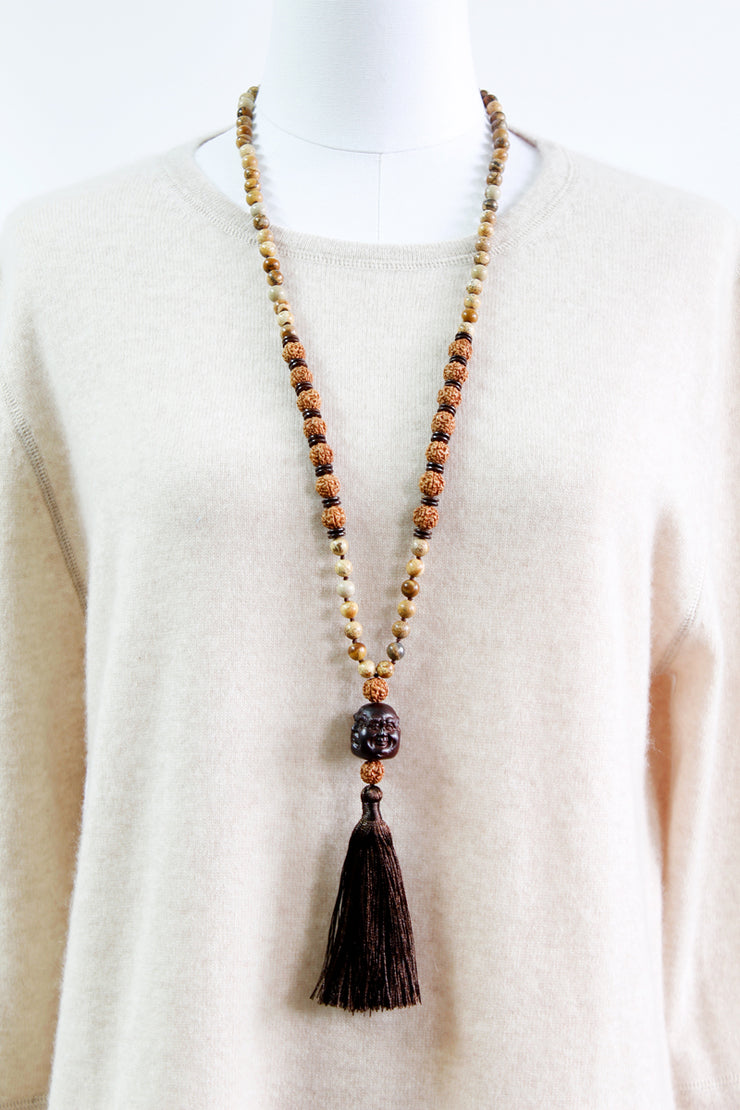 Buddha Wood Necklace with Black Tassel