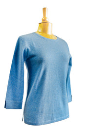 Kinross 3/4 Sleeve Crew Cashmere Sweater- Available In Many Colors