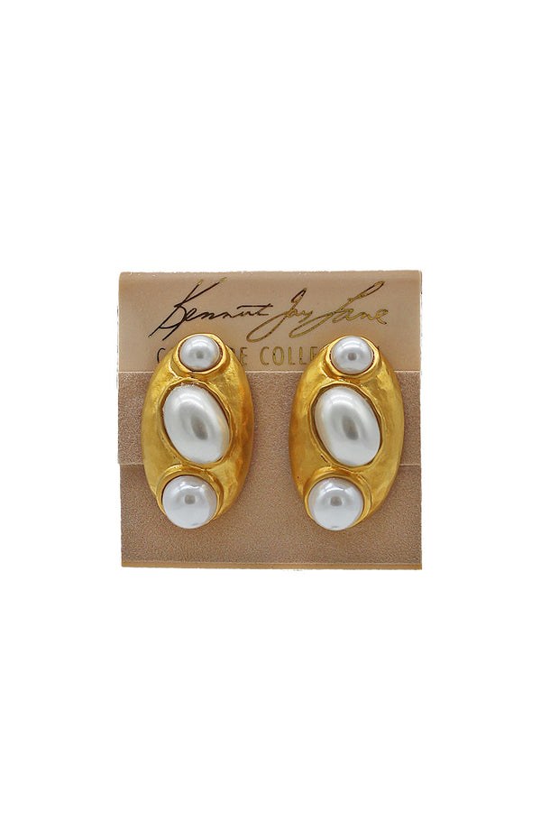 Kenneth Jay Lane Gold & Pearl Cab Earrings