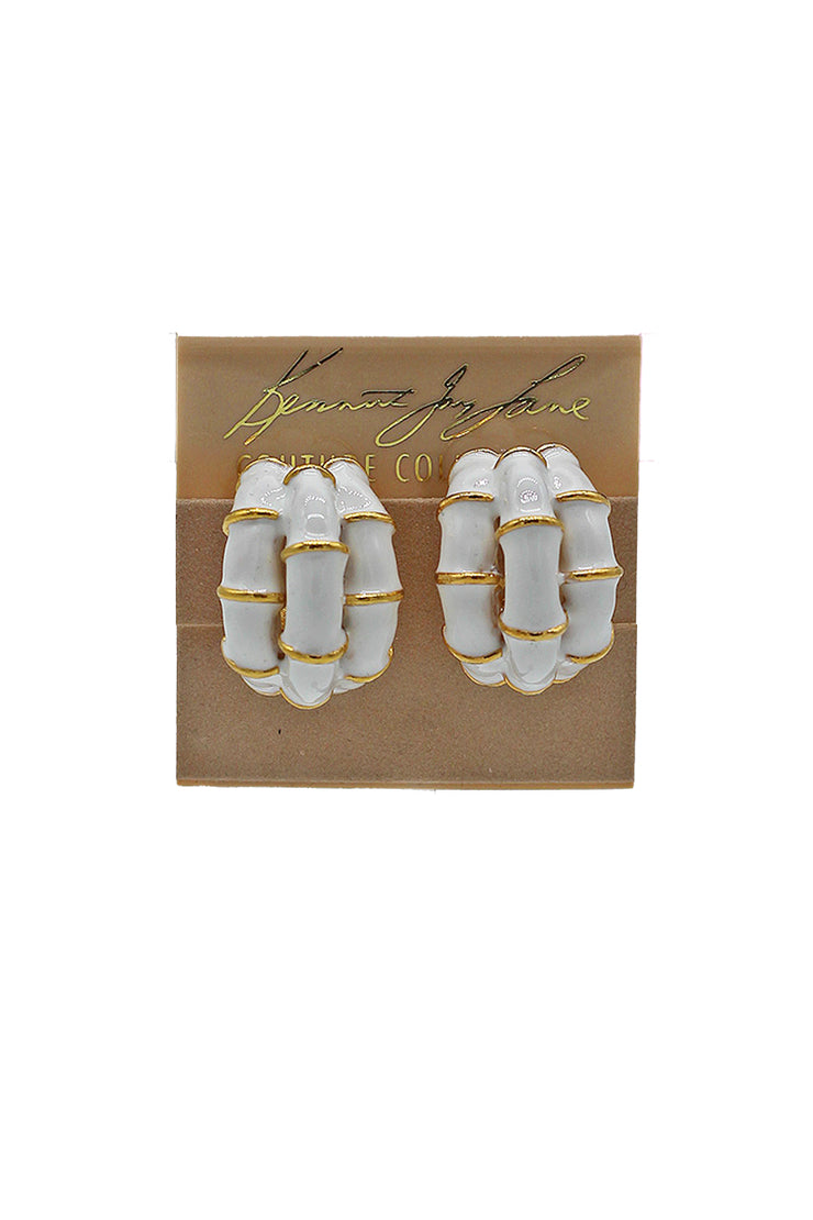 Kenneth Jay Lane Enamel Triple Bamboo Earring - available in multiple colors