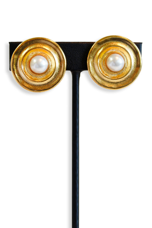 Kenneth Jay Lane Gold Pearl Center Button Clip Earring