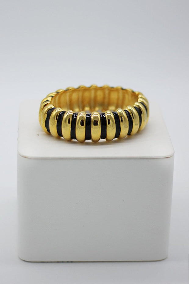 Kenneth Jay Lane Black & Gold Enamel Ribbed Bracelet