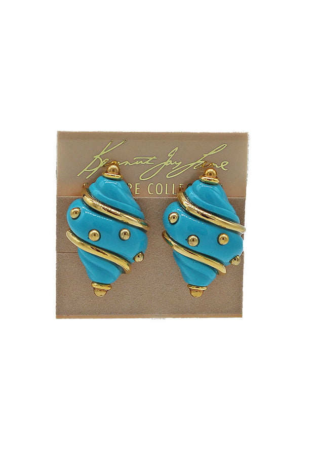 Kenneth Jay Lane Shell Earring with Gold Accents - available in multiple colors