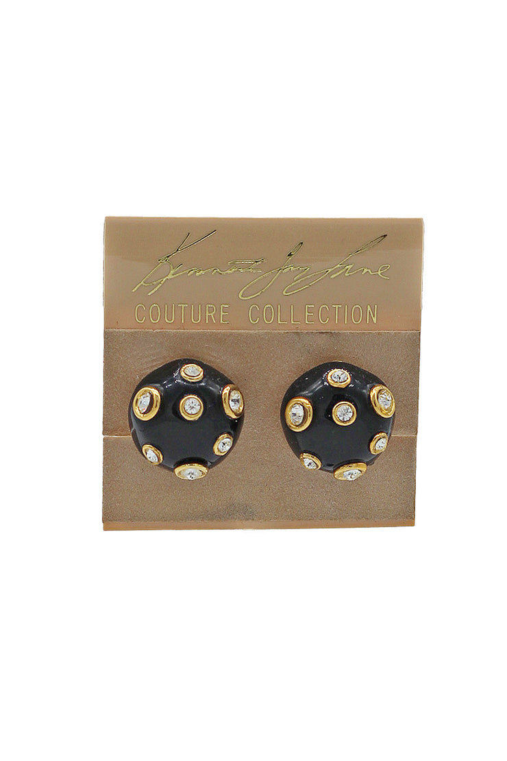 Kenneth Jay Lane Domed Earrings with Crystal Accents