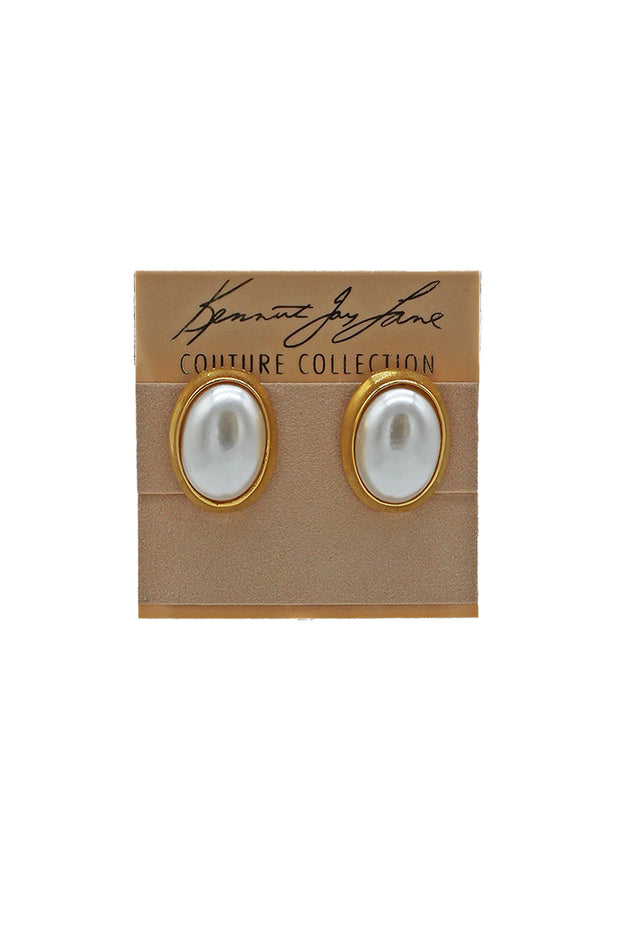 Kenneth Jay Lane Pearl Oval Earrings
