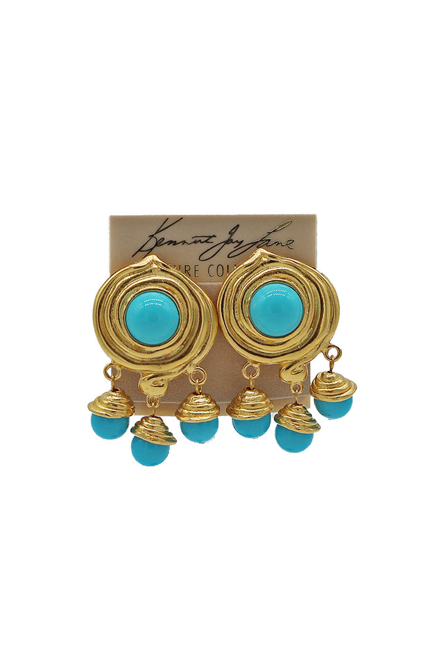 Kenneth Jay Lane Gold Swirl Dangle Earrings