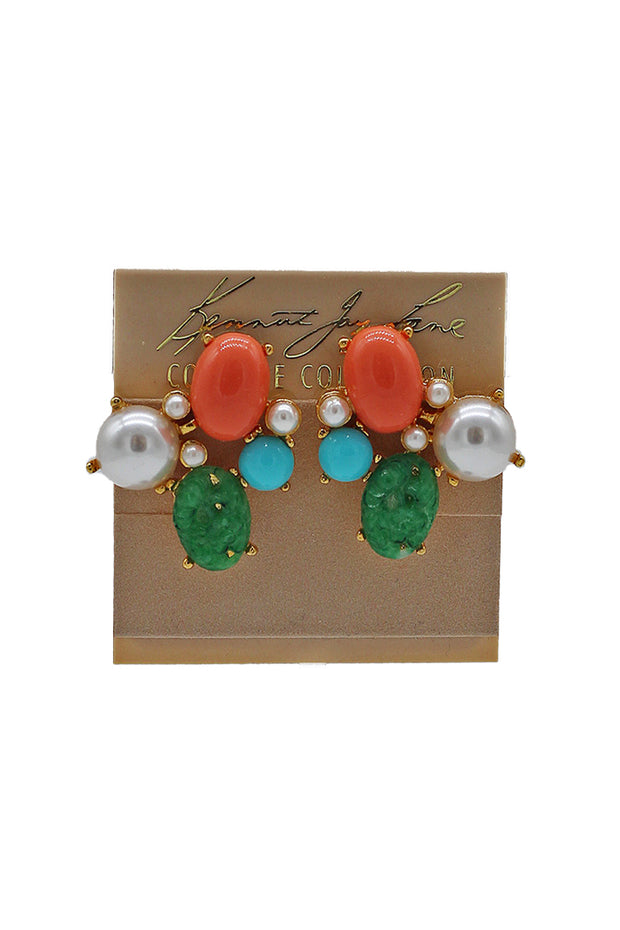 Kenneth Jay Lane Multi-Stone Cluster Earring