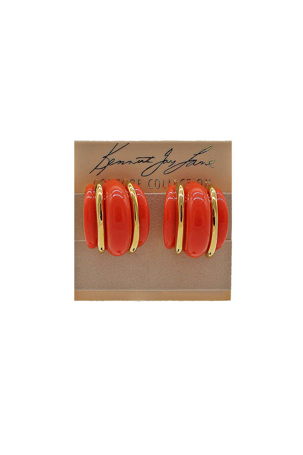 Kenneth Jay Lane Ribbed Clip Earrings - available in mutiple colors