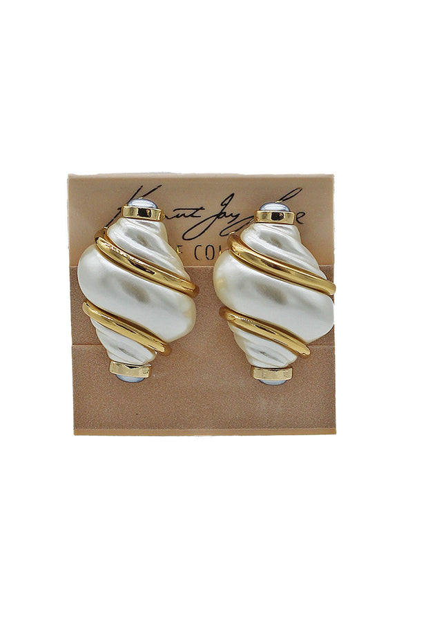 Kenneth Jay Lane Pearl & Gold Shell Earrings